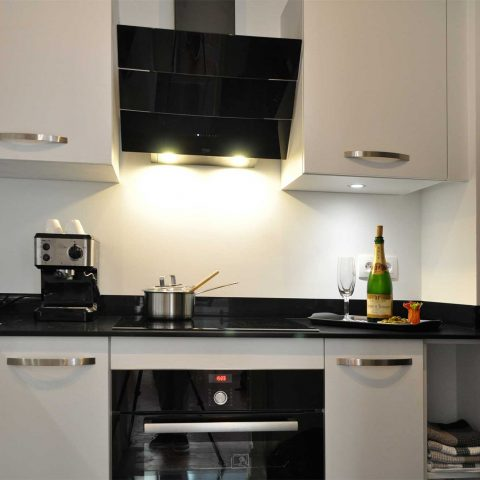 The new kitchen is fully equipped including a side by side fridge-freezer with ice dispenser